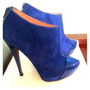 Suede Royal Blue Booties | Sz. 7